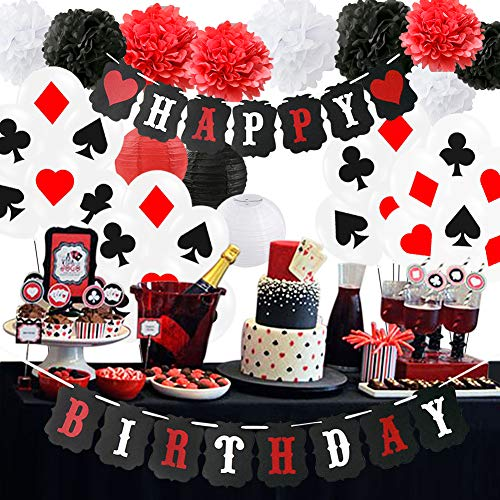 Poker Birthday Party Decorations/Poker Theme Party Supplies Casino Party Decoration Supplies Casino Theme Party,Las Vegas Themed Parties,Casino Night,Casino Birthday Déco/Women 40th/50th Birthday
