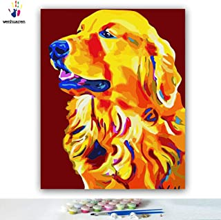 Paint by Number Kits Canvas DIY Oil Painting for Kids, Students, Adults Beginner with Brushes and Acrylic Pigment -Golden Retriever Dog (2190, 16x20 no Frame)