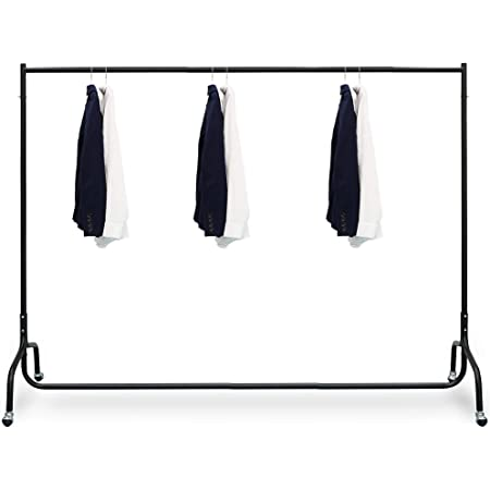 House of Quirk Stainless Steel Clothes Hanging Clothing Rack on Wheels Garment Rack Clothes Hanger Heavy Duty Clothes Rail, (Black, 6 ft W, 5ft H)