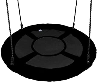 """Gaorui 100cm 40"""" Tree Swing Spinner Kids Swing Seat Saucer Nest Swing Round Ring Large Tire Swing – 200 KG Weight Capacity, Fully Assembled, Easy to Install Black"""