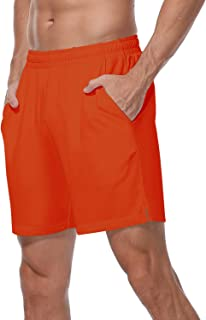 """HISKYWIN Men's 7"""" Quick-Dry Running Shorts Workout Jogging Mesh Shorts with Pockets Zip"""