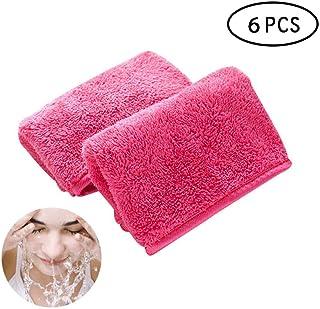 Makeup Remover Cloth Clean Towel, Hamkaw 6 Pack Reusable Microfiber Cleansing Towel, Super Soft Facial Eye Makeup Cleansing Eraser Towel