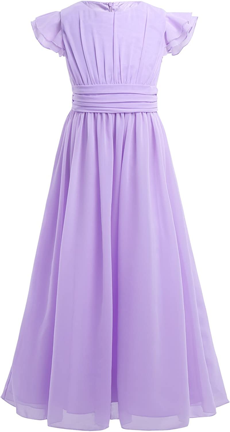 YiZYiF Girls' Sale special price Popular shop is the lowest price challenge Kids' Flutter Sleeves Ruffles Gown Prom Bridesmaid