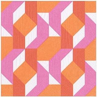 Caspari 13880L Color Theory Fuchsia Napkin Luncheon, Multicolor