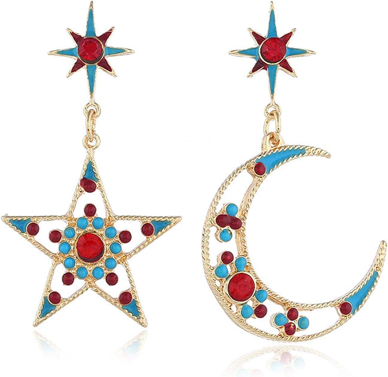 Dainty Exaggerated Moon Stars Drop Earrings Fashion Boho Cubic Zirconia Crescent Moon Star Dangle Earrings Retro Rhinestone Long Asymmetrical Earrings Jewelry for Woman Girls