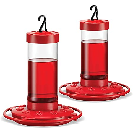 Hummingbird Feeder 16 oz [Set of 2] Plastic Hummingbird Feeders for Outdoors - Humming Bird Feeders - Circular Perch with 10 Feeding Ports - Wide Mouth for Easy Filling/2 Part Base for Easy Cleaning
