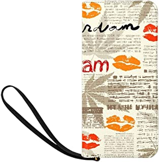 Fashion Old Newspaper Art Womens Clutch Wallet Large Wristlet Zipper Clutch Large Travel Purse