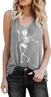 MEIbax Chaleco de Mujer con Estampado de Calaveras Camiseta