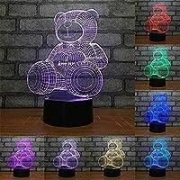 3Dイリュージョンナイトライトキッズランプ漫画7色のモダンなランプ装飾照明最高のギフトおもちゃUsb充電器