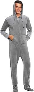 Ekouaer Mens Coral Fleece Onesie Long Sleeve Hooded Footed Jumpsuit Pajamas One Piece S-XXL