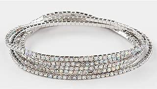 Classic Elegant Crystal Stone Jewelry Bracelet Lapis Lazuli Stretch Bracelet Elastic Gorgeous Rhinestone Bracelet Set Bracelets