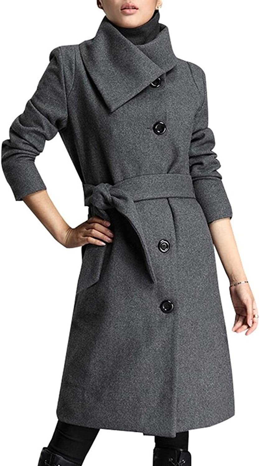 Fortuning's JDS Women's Single Breasted Long Wool Oblique Collar Trench Coat Jacket