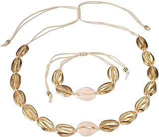 Cowrie Shell Choker Necklace Seashell Strand Bracelets Summer Hawaiian Jewelry Set for Women