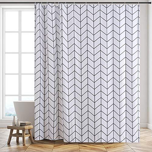 Furlinic XL Duschvorhang Badvorhang Badewannenvorhang in Badezimmer aus Stoff Textil Anti-Schimmel Wasserabreisend Waschbar, Überlänge 200x240cm, Fischgrätenmustermit 12 Haken.