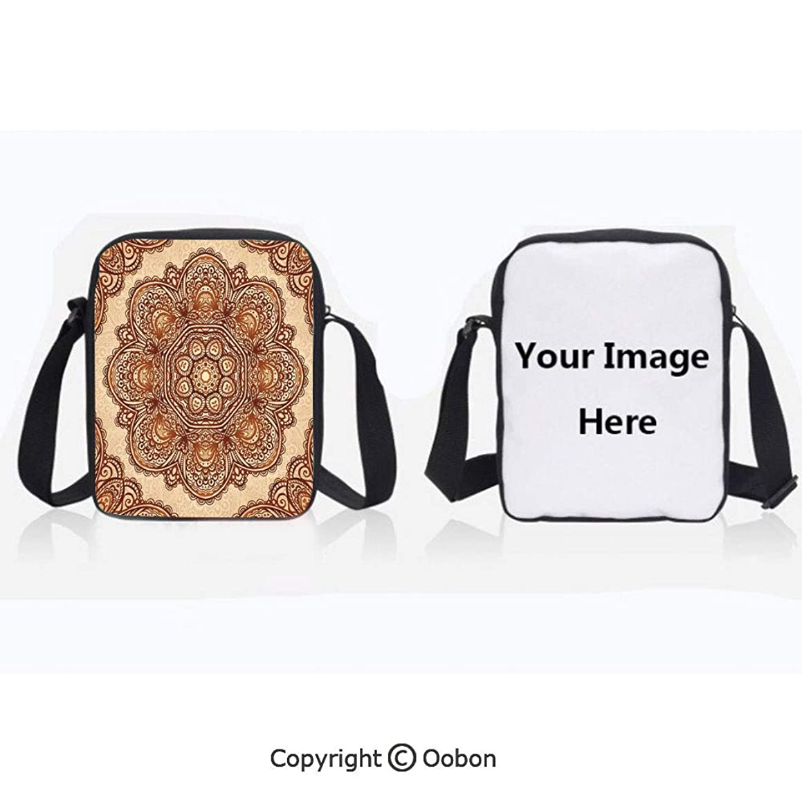 Multipurpose Crossbody Bag For Sports Unisex Teen Mehndi Style Floral Flower with Abstract Paisley Backdrop Art Print Light Brown and Dark Brown Anti-Theft Travel Hiking Polyester Water Proof Bag