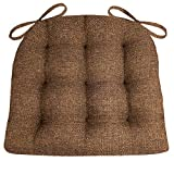 Brisbane Brown Dining Chair Cushions with Ties - Size Extra-Large - Latex Foam Fill, Reversible - Made in USA ( Brown / XL )
