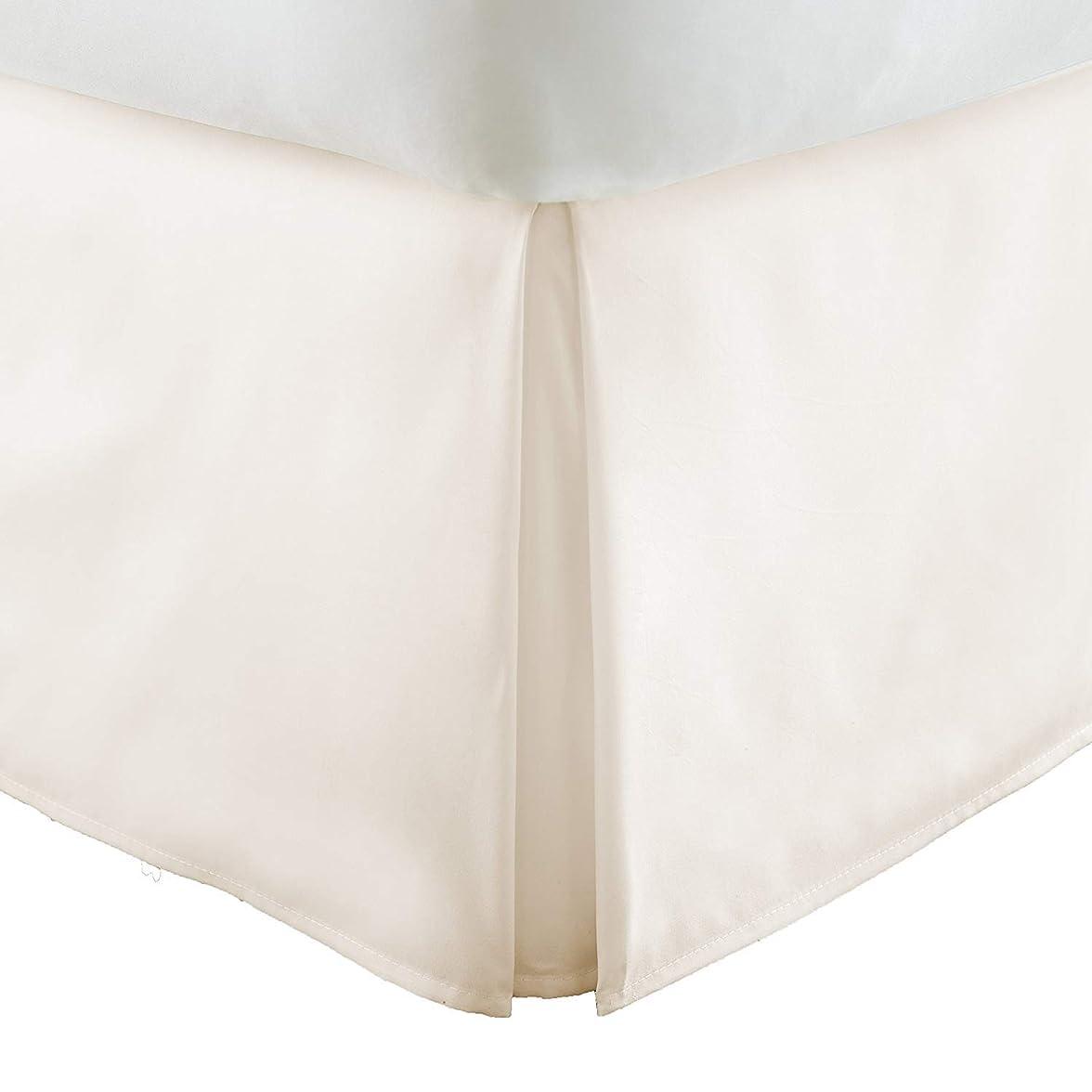 ディレイセラー悲観的クイーンベッドスカート 18インチドロップスプリットコーナー 100%エジプト綿 ラグジュアリー- 600スレッドカウント テーラード1 ピース ベッドスカート クイーン 60 x 80 サイズ アイボリー 18 インチドロップ/フォール、簡単に洗えます しわ&色あせ防止