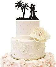 Wedding Cake Topper Beach Honeymoon Wedding Bride Groom with Palm Tree (Beach Theme Black)
