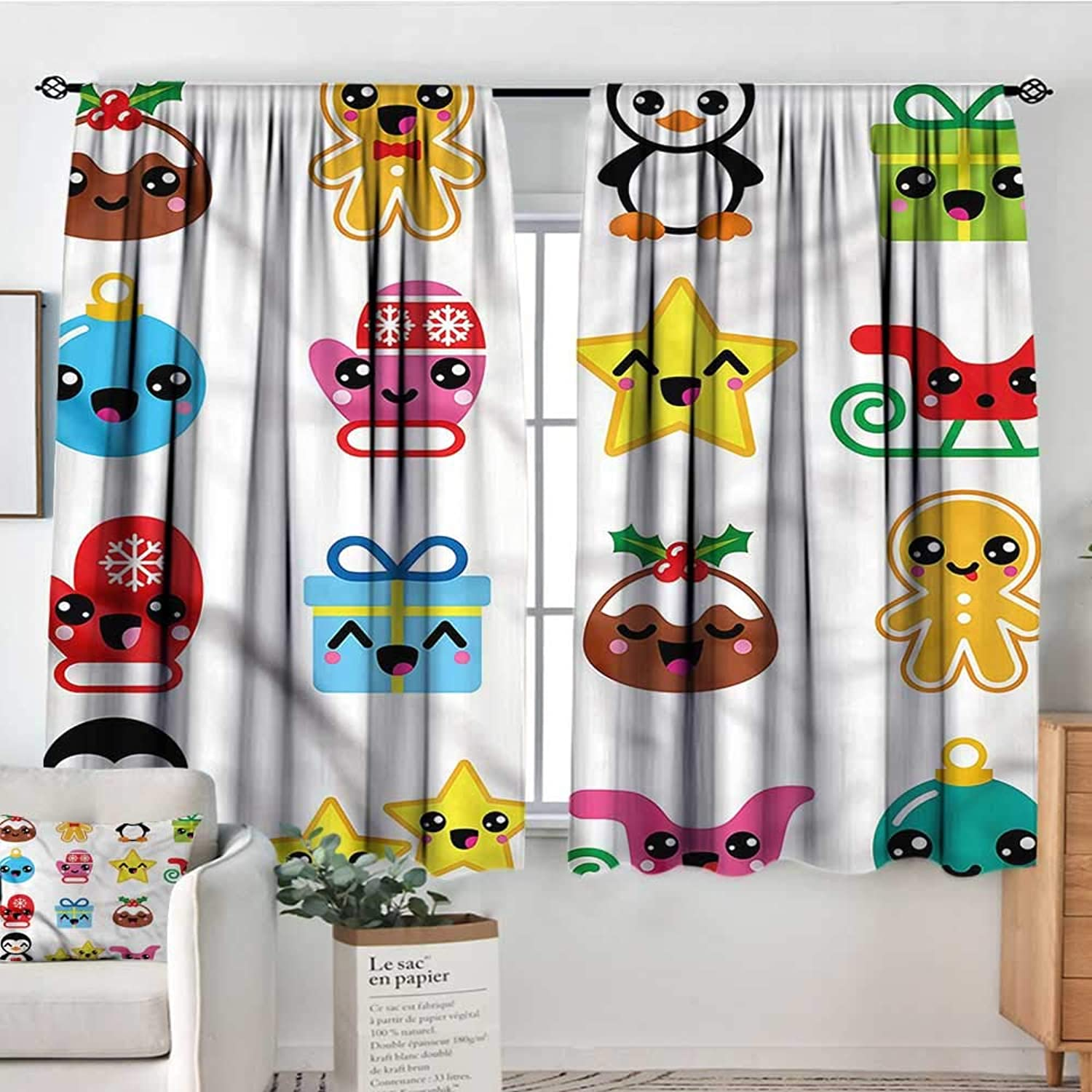 Sanring Kawaii,Indo Curtains Drapes Sledge and Mittens Penguin 52 x63  Seep e Microfiber Boys Room Curtains