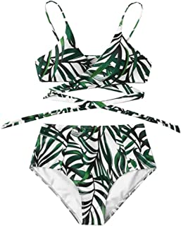 Women Bikini Set Print Padded Swimwear High Waist Bathing Swimsuit Beachwear
