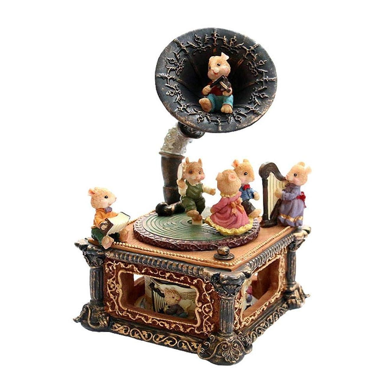 慢歴史的バンカー?クリスマスの家の装飾のためのオルゴールクラシックレトロホーン蓄音機オルゴール