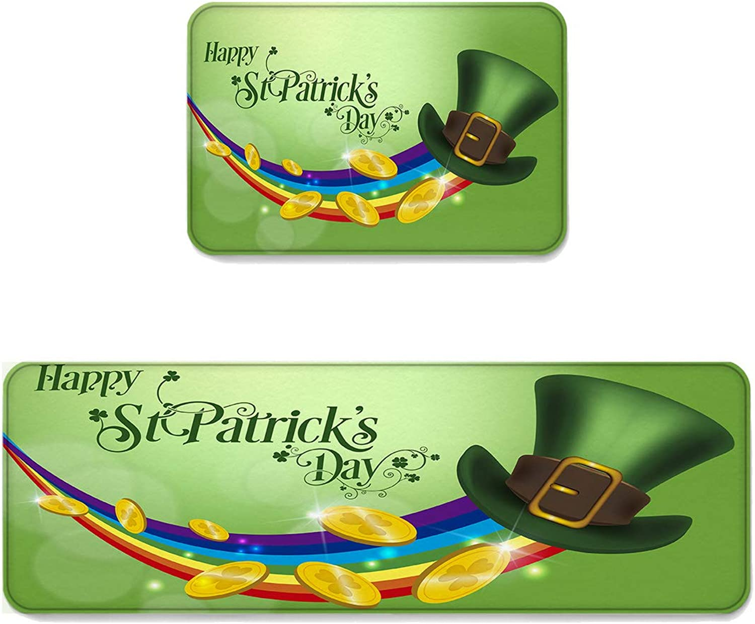 Kitchen Rug Sets 2 Piece Floor Mats Non-Slip Rubber Backing Area Rugs Hat gold Coin Rainbow Happy St Patrick's Day Doormat Washable Carpet Inside Door Mat Pad Sets (19.7  x 31.5 +19.7  x 47.2 )