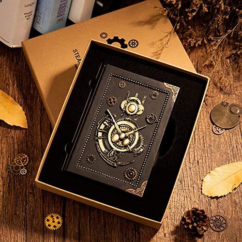Vinbcorw Steampunk Noitzbuch Notizbuch, antik, handgefertigt, ledergebunden, für tägliche Notizen, mit Blanko-Seiten, 16.5 x 12.8 cm, Geschenk, Reisetagebuch Enthält Keine Tinte,A
