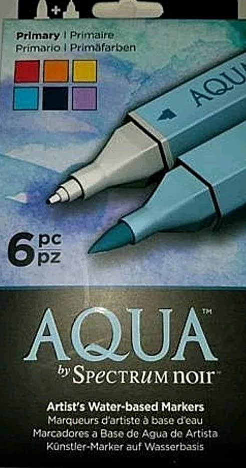 Aqua by Spectrum Noir - Primary - Set of 6 Artist's Water-based Markers