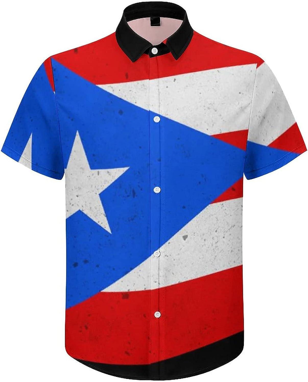 Mens Button Down Shirt Puerto Rico Flag Casual Summer Beach Shirts Tops