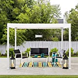 Sunjoy Reese 10x10 ft. Modern Steel Pergola with Flat Top Canopy, White