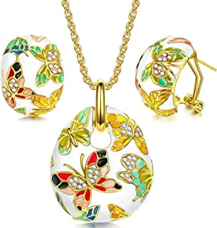 QIANSE ❤ Spring of Versailles ❤ Gold Plated Handcrafted Enamel Butterfly Jewelry Set - Gift Packing!