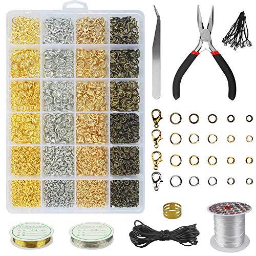 Kit Creazione Gioielli Kit di Attrezzi Riparazione Gioielleria Set di Anelli per Gioielli e Anelli di Salto Aperti con Pinze