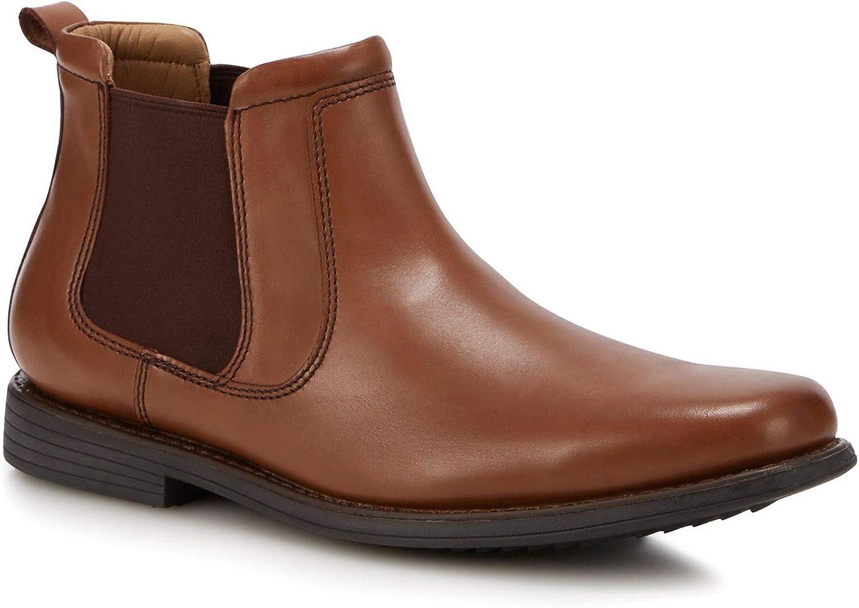 Henley Comfort Men Tan Leather 'Palin' Chelsea Boots