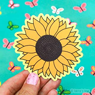 Sunflower Sticker, Vinyl Stickers, Sunflower Art, Plant Lover Gift, Car Decal, Floral, Girl Gift, Prairie Decor, Summer Bloom, Helianthus, Turtle's Soup