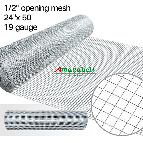 1 2 inch Galvanized Hardware Cloth 24 x 50 Gopher Wire Welded Mesh Chicken Tractor Coop Raised Garden Bed Rabbit Cage Ground Hog Fence Rodents Animal Chew Proof Window Screen Outdoor Fencing Material