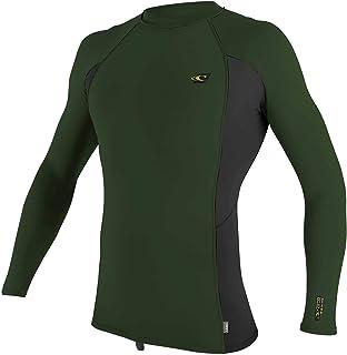 O'Neill Mens Premium Skins Long Sleeve Rash Vest Top - Dark Olive - Quick Dry UV Sun Protection and SPF Properties
