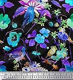 Soimoi Blaue Satin Seide Stoff Blätter, Floral & American
