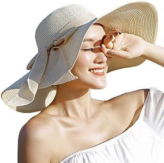 قبعات الشاطئ النسائية ذات حافة عريضة من القش قبعات الصيف للنساء للحماية من الأشعة فوق البنفسجية UPF50+