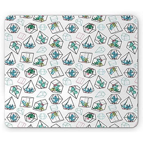 Aquarium-Mausunterlage, Kakteen mit Blumen-Bild im Glockenglas entworfen mit geometrischem Muster, Weiß und Mehrfarben