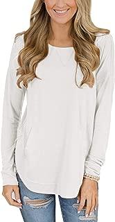 Women's Round Neck Long Sleeve Plain Pocket Sweatshirt Top
