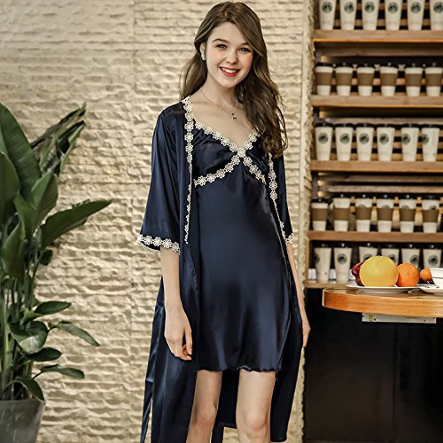 IANXI Home Spring and Summer Simulation Silk Pajamas Women's Suspenders Robe TwoPiece Home Service (color   Navy, Size   L)