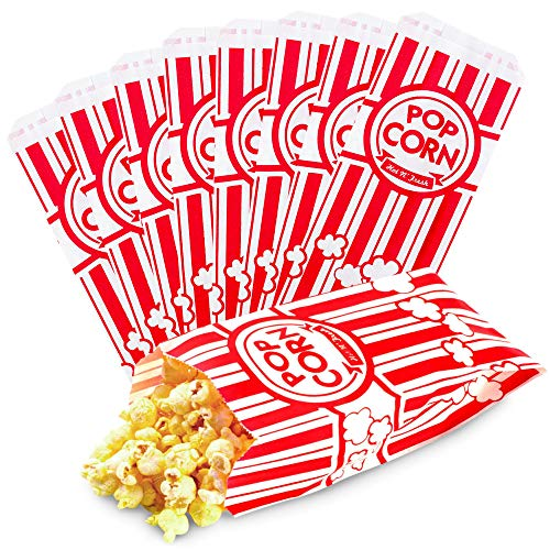 [300 Pack] Popcorn Bags 1 oz - Small Disposable Paper Popcorn Container, Red and White Striped Leak Proof Flat Bottom for Movie Night Snacks, Concessions, Birthday Party, Circus Carnival Decorations
