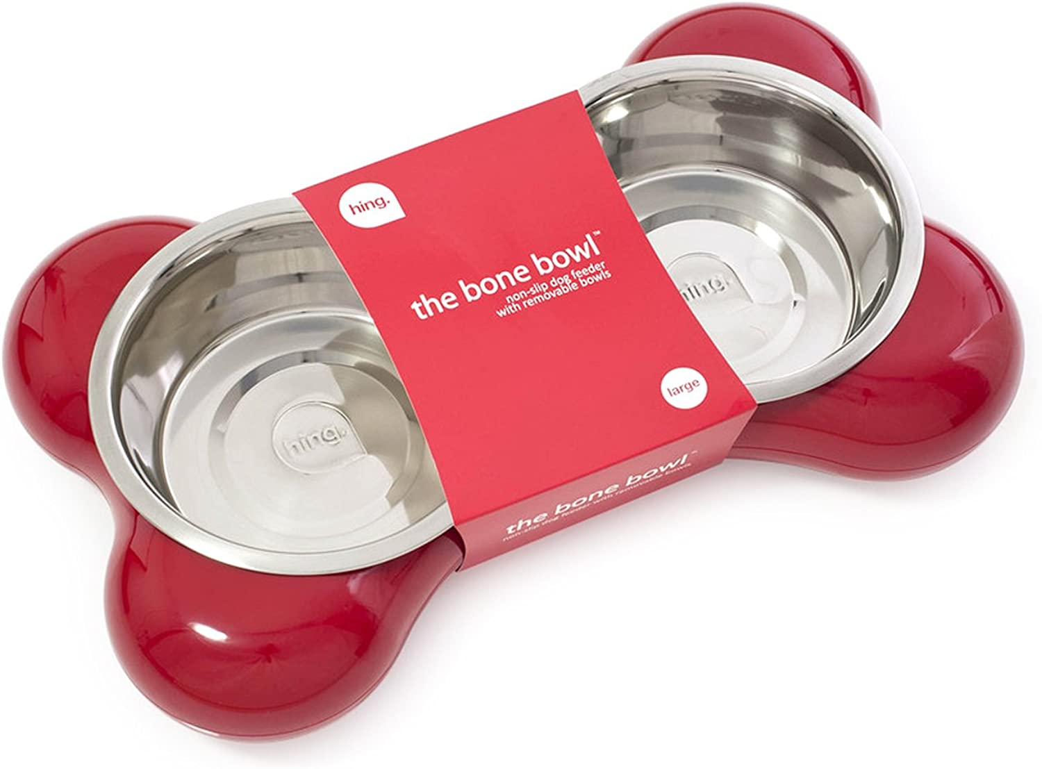 Hing Bone Non Slip Dual Dog Feeding Station with Removable Bowls, Large, Red