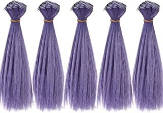 5pcs/lot 15cm Long Straight Synthetic Natural Purple Handcraft Hair Wefts for Making BJD Blythe Pullip Doll's Wig