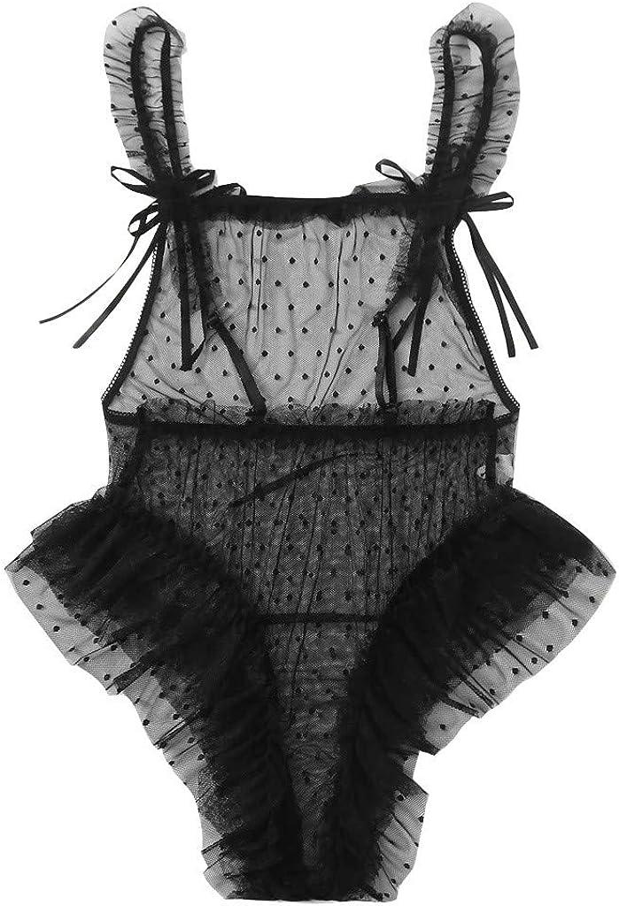 Gergeos Women Plus Size Lace Mesh Lingerie Jumpsuit Underwear Bodysuit Sleepwear