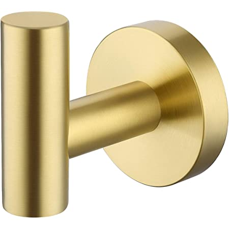 Kes Bathroom Wall Towel Hook No Drill Robe Hook For Kitchen Shower Sus 304 Stainless Steel Brushed Brass Finished A2164dg Bz Amazon Com
