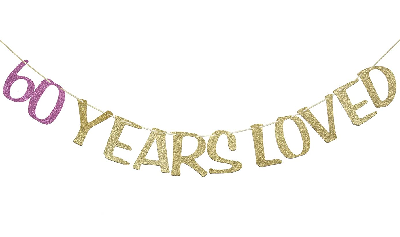 60 Years Loved Banner Sign Gold Glitter for 60th Birthday Party Decorations Anniversary Decor Photo Booth Props (60th, Rose Red)