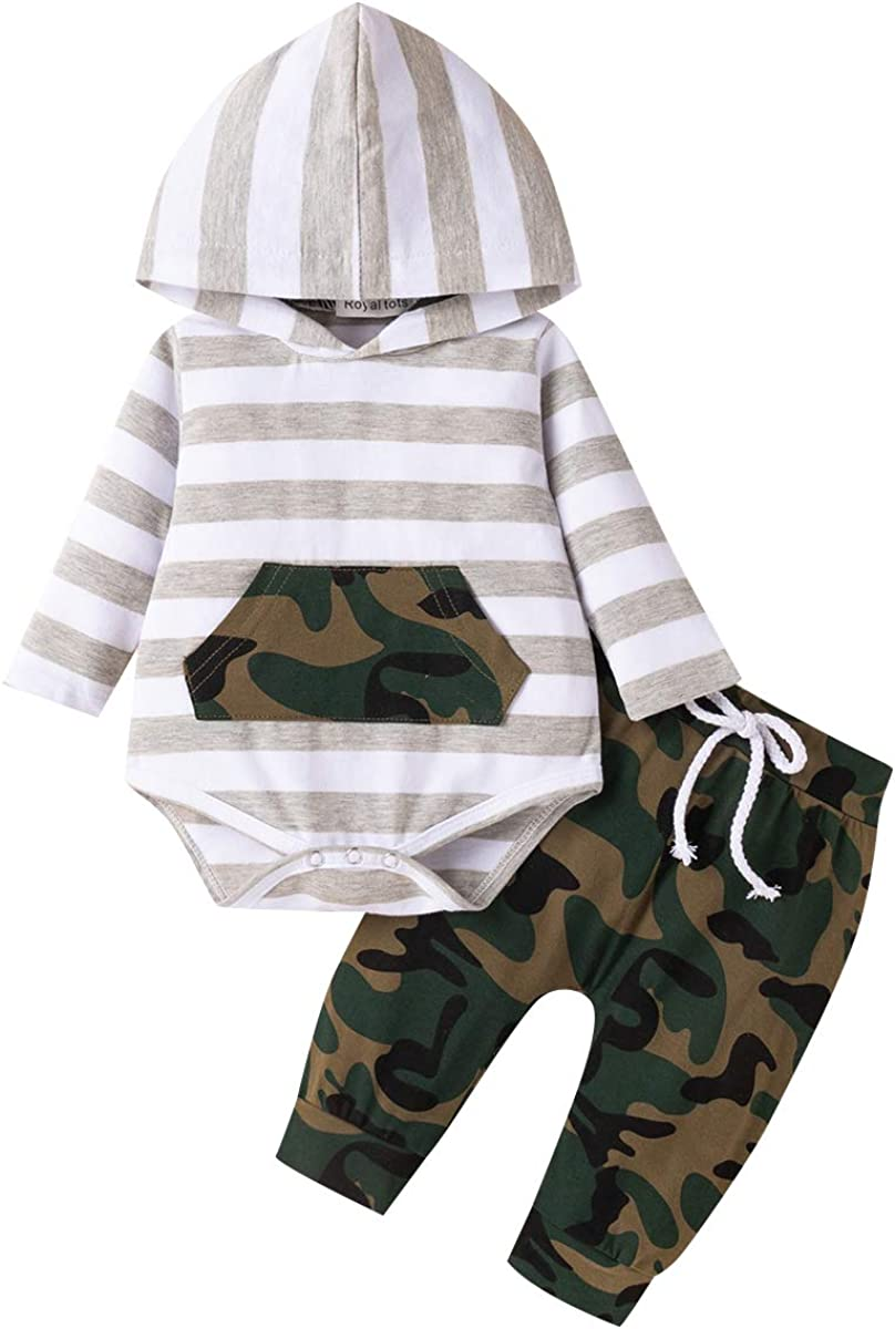 2Pcs Baby Boys Clothes Sets, Cute Letters Print Hoodie Romper + Pants Outfits Set (Long Sleeves Stripe Camouflage 0-3months)