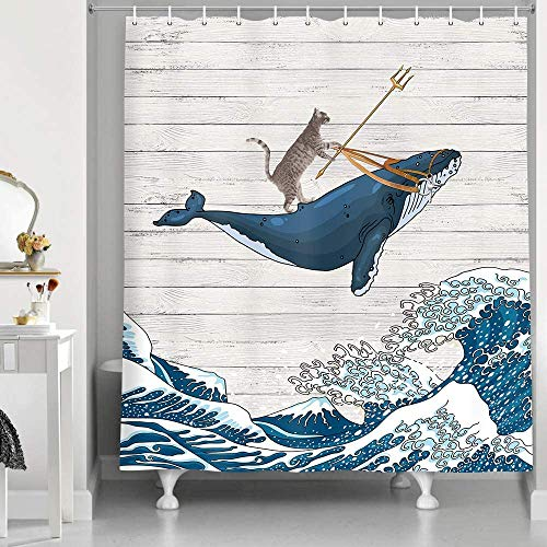 Funny Cat Whale Shower Curtain, Cool Cat Riding Whale with Japan Kanagawa Waves on Rustic Wooden Shower Curtain Cute Kids Decor, Polyester Fabric Farmhouse Shower Bathroom Decor, 70X70IN