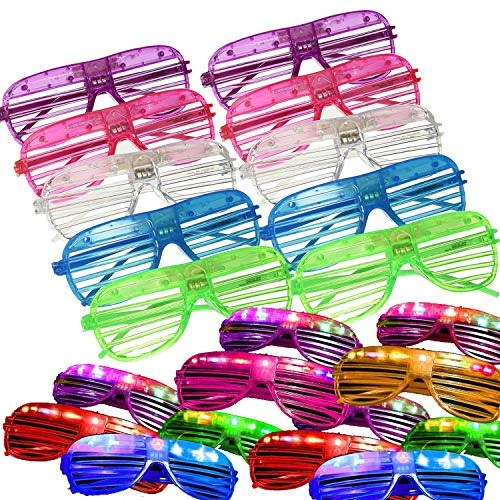 LED Glasses Glow in the Dark Party Favors Supplies for Kids 24 Pack Flashing Plastic Light Up...